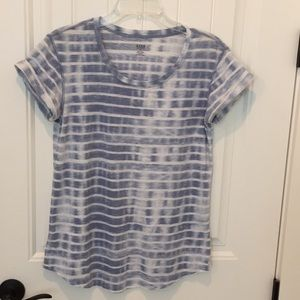 Blue and white a.n.a. Shirt has distressed stripes